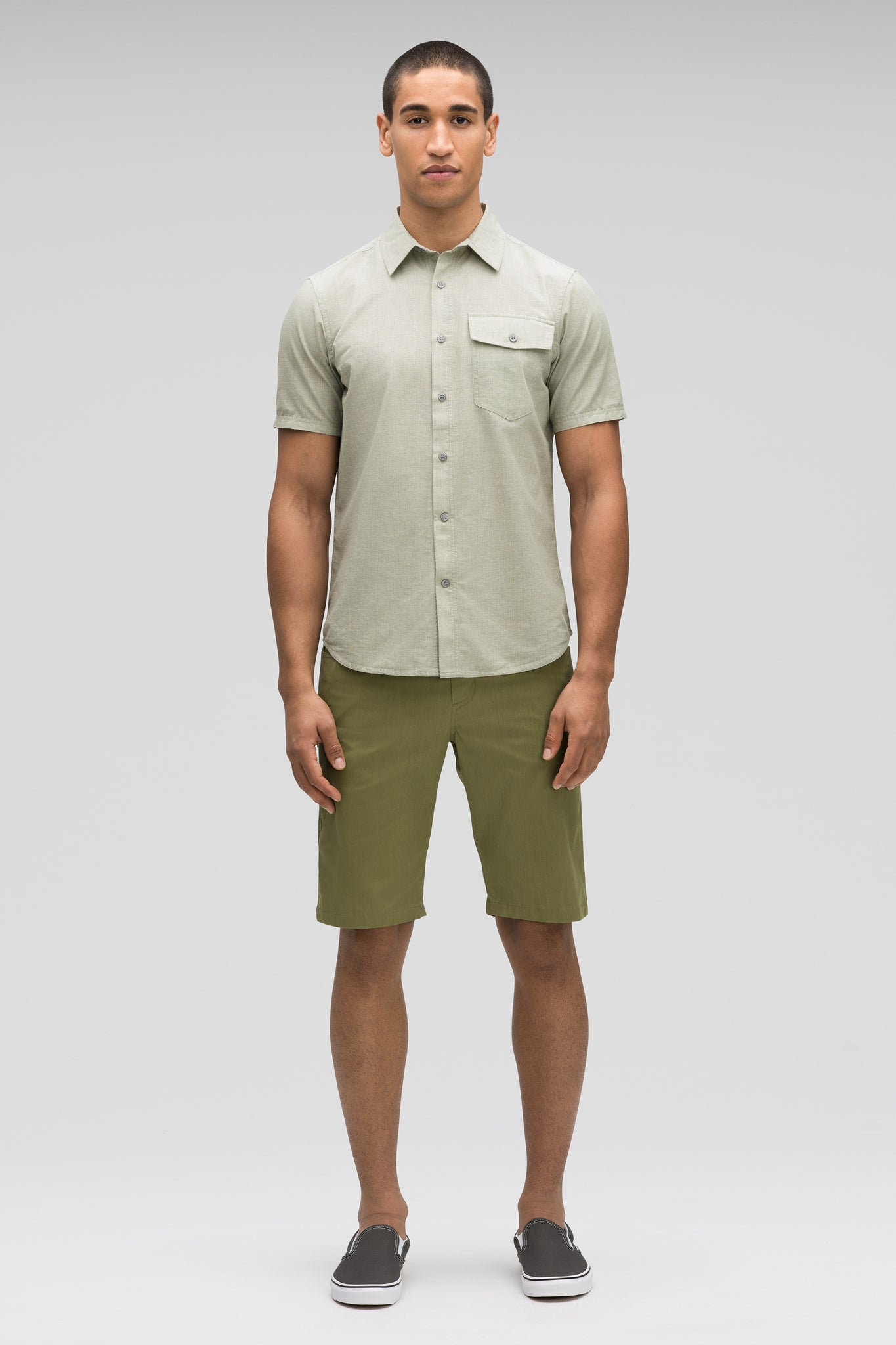 men's bloq short sleeve button up shirt - loden