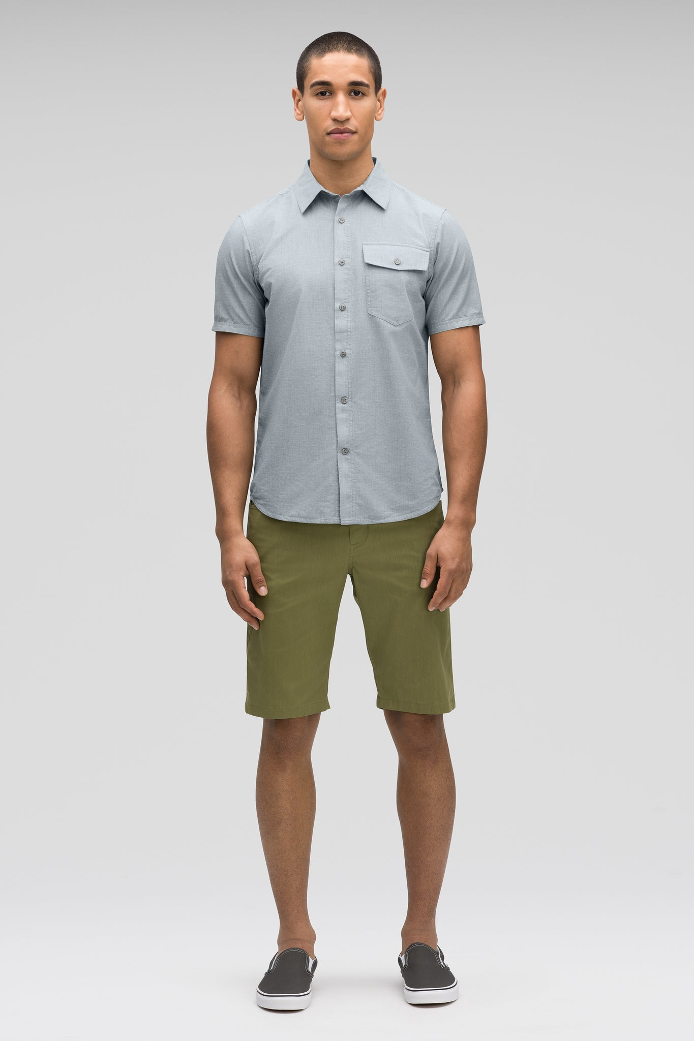 men's bloq short sleeve button up shirt - lagoon