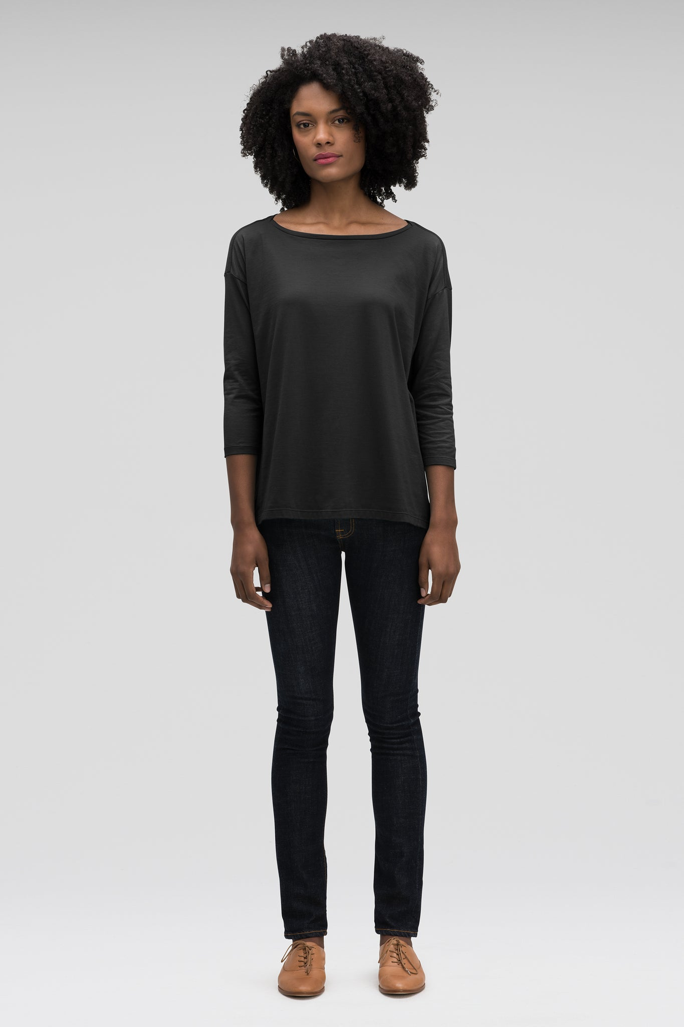 women's basis organic cotton boatneck shirt - caviar