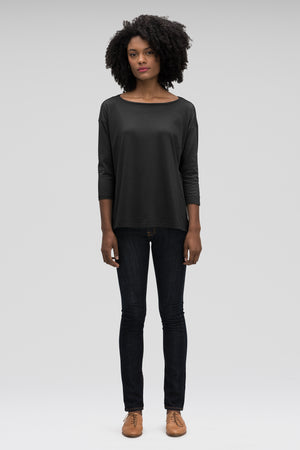 women's basis organic cotton boatneck shirt   caviar