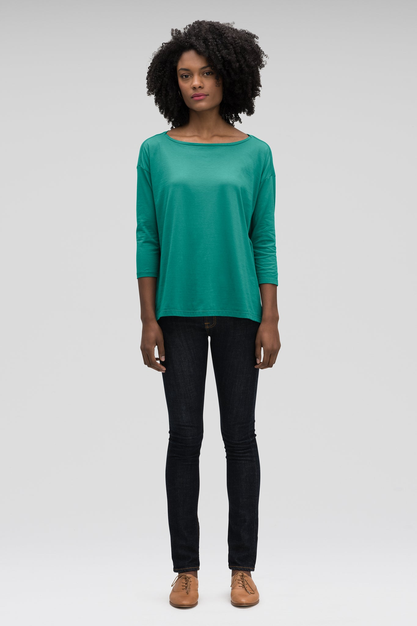 women's basis organic cotton boatneck shirt - jade