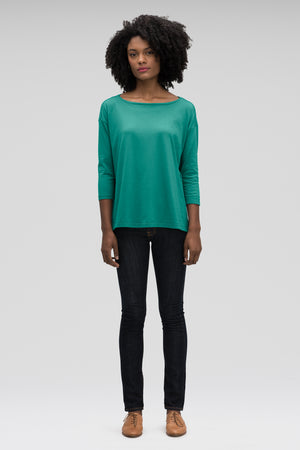 women's basis organic cotton boatneck shirt   jade