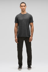 men's kanab hemp blend short sleeve henley - caviar heather