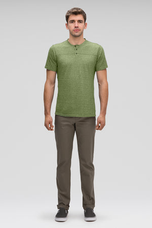 men's kanab hemp blend short sleeve henley   cedar heather