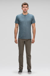 men's kanab hemp blend short sleeve henley - lagoon heather