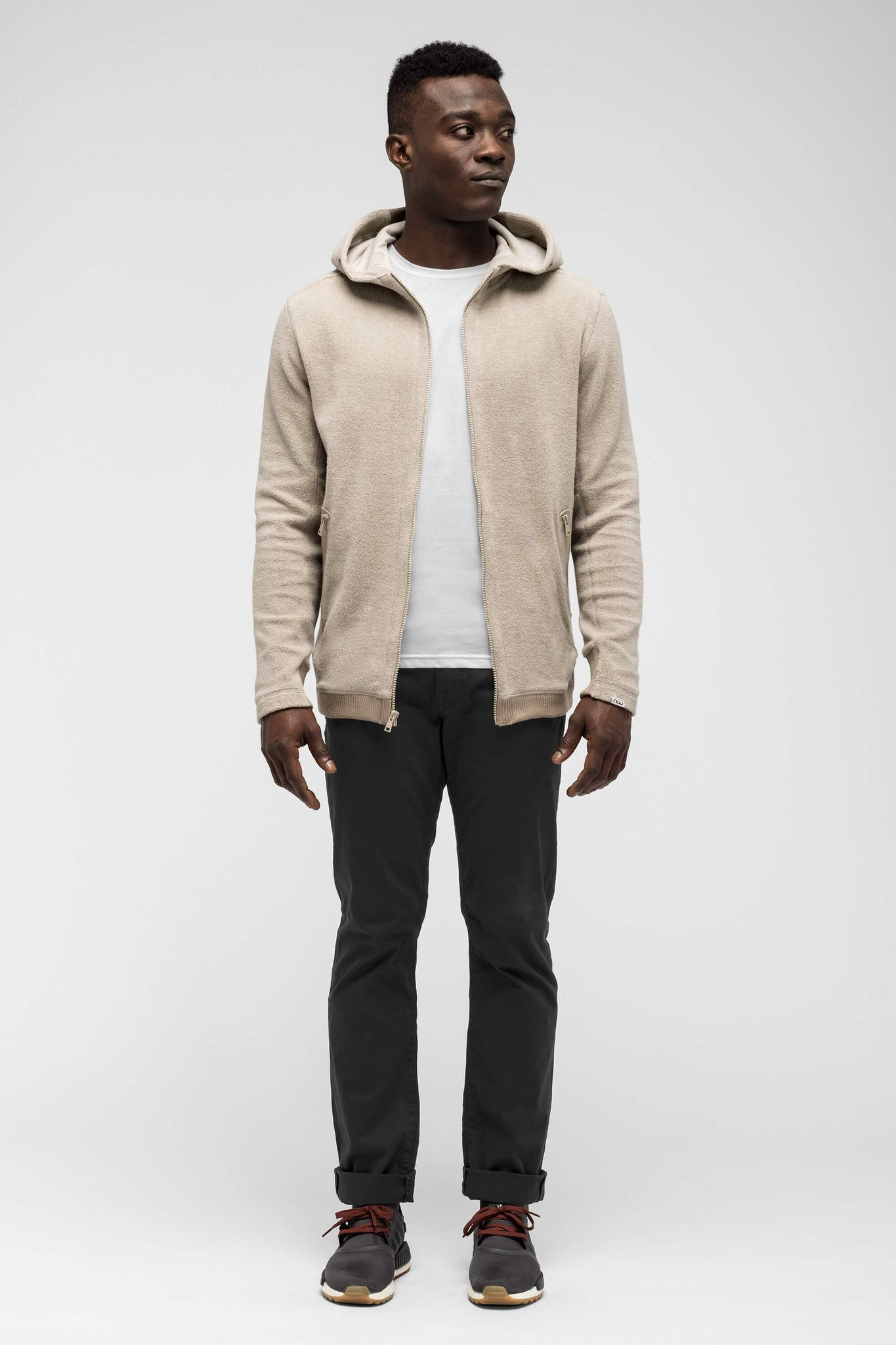 men's hybernate fleece hoody - sand