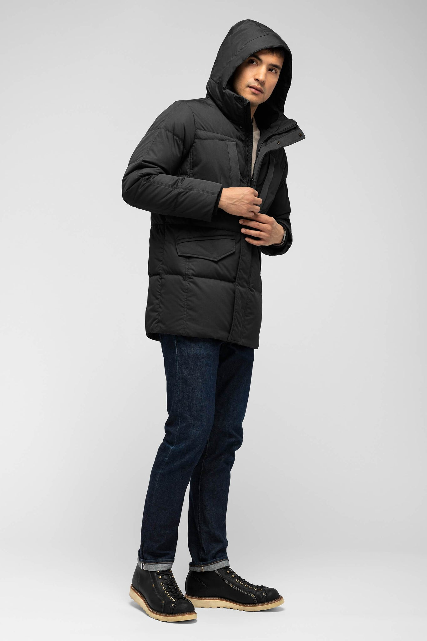 men's waxen down jacket - caviar