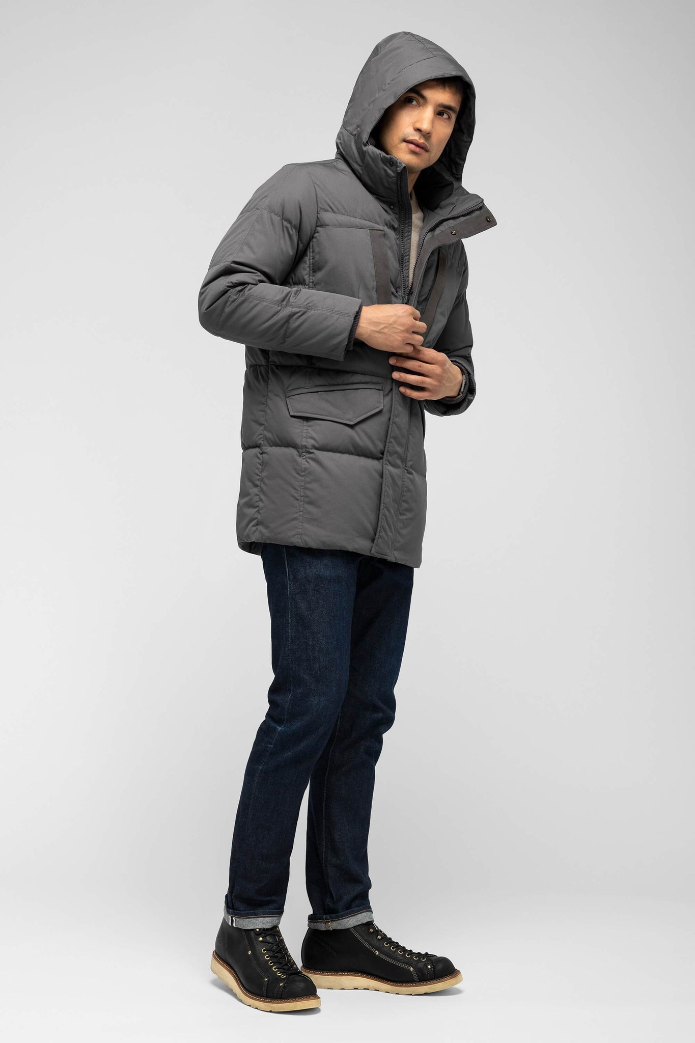men's waxen down jacket - charcoal