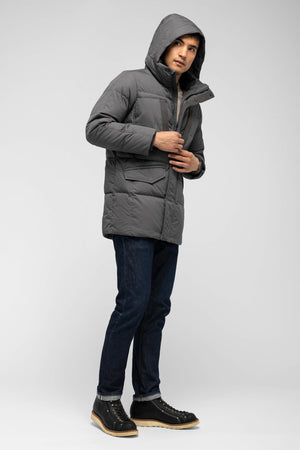 men's waxen down jacket   charcoal