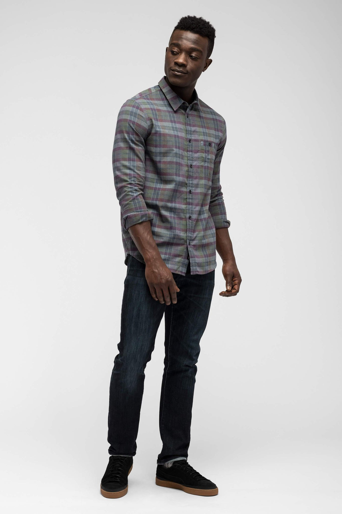men's fortuit plaid shirt - shadow plaid