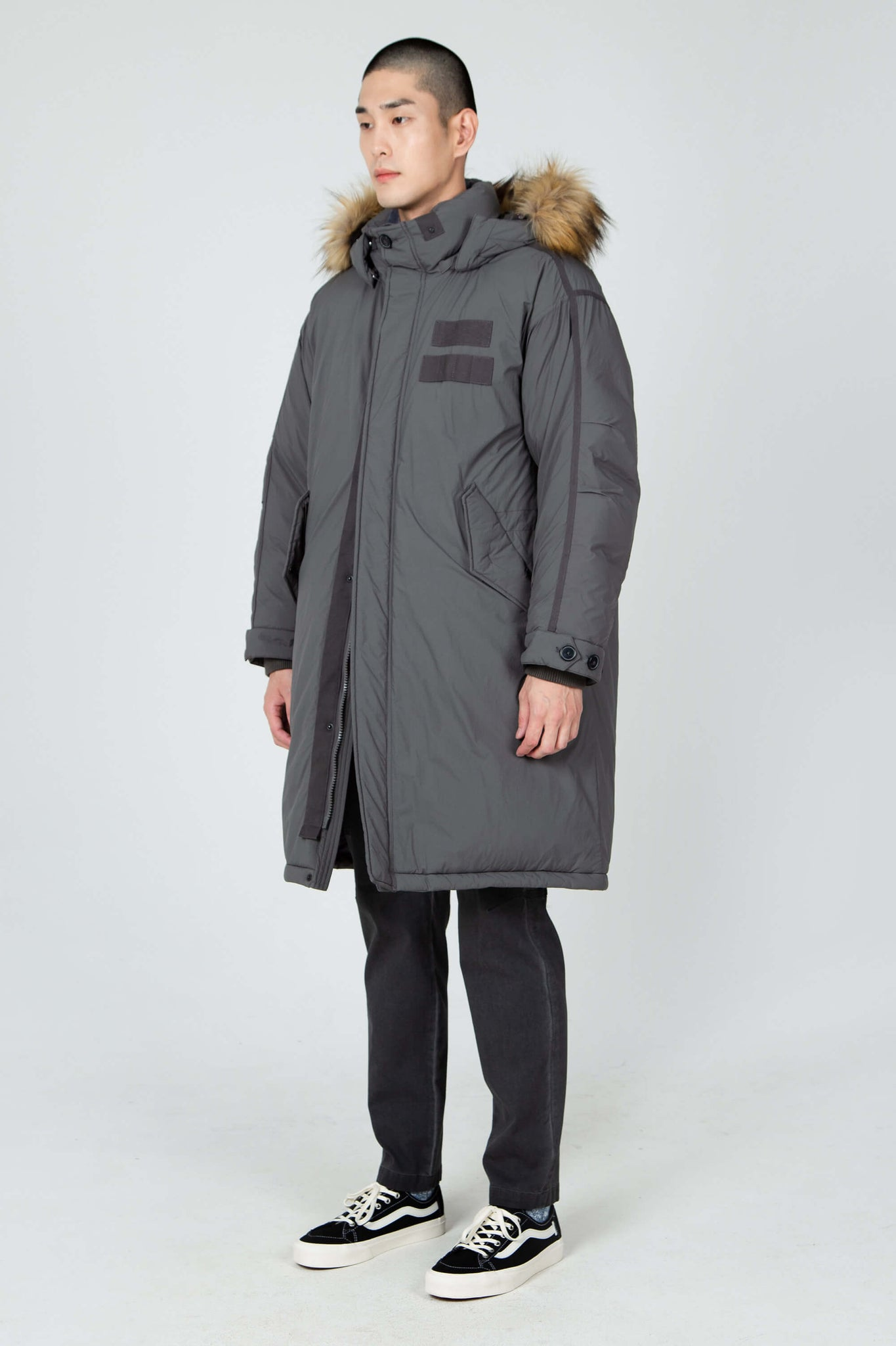 men's hooded recycled down winter trench coat - dark grey