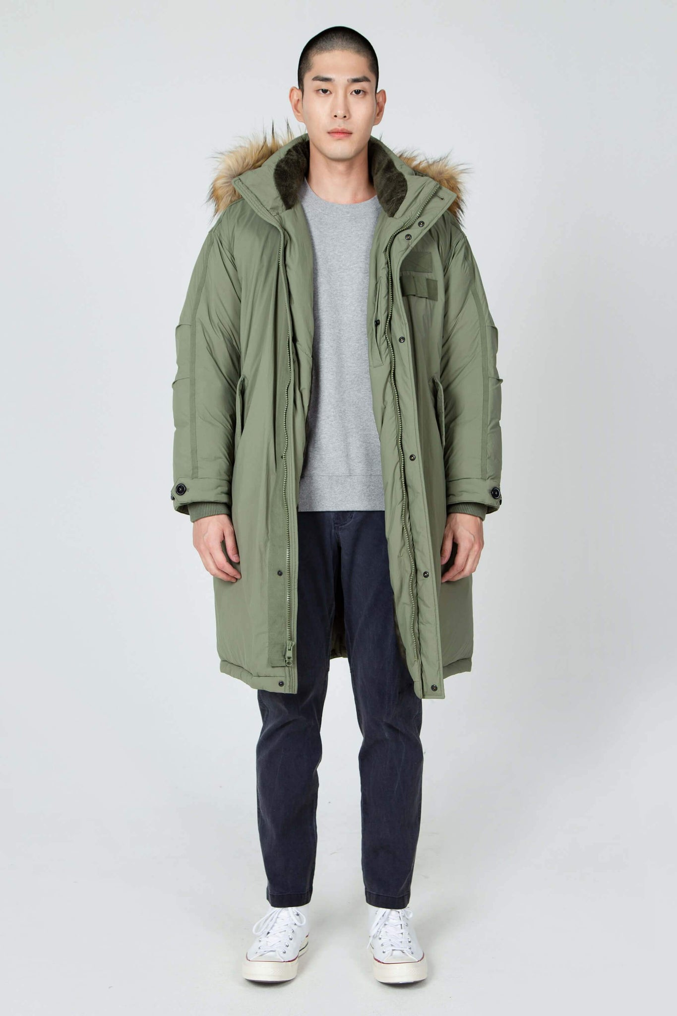 men's hooded recycled down winter trench coat - olive