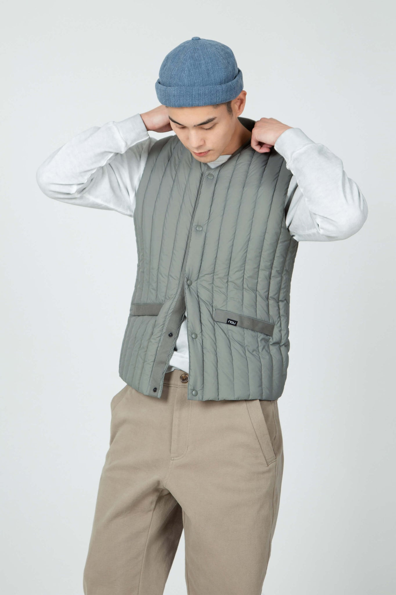 men's quilted recycled down vest - basalt