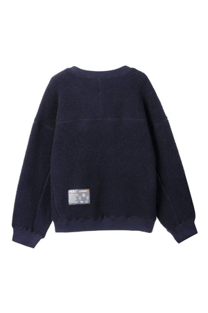men's pohlar recycled polyester high pile fleece crew neck pullover   navy