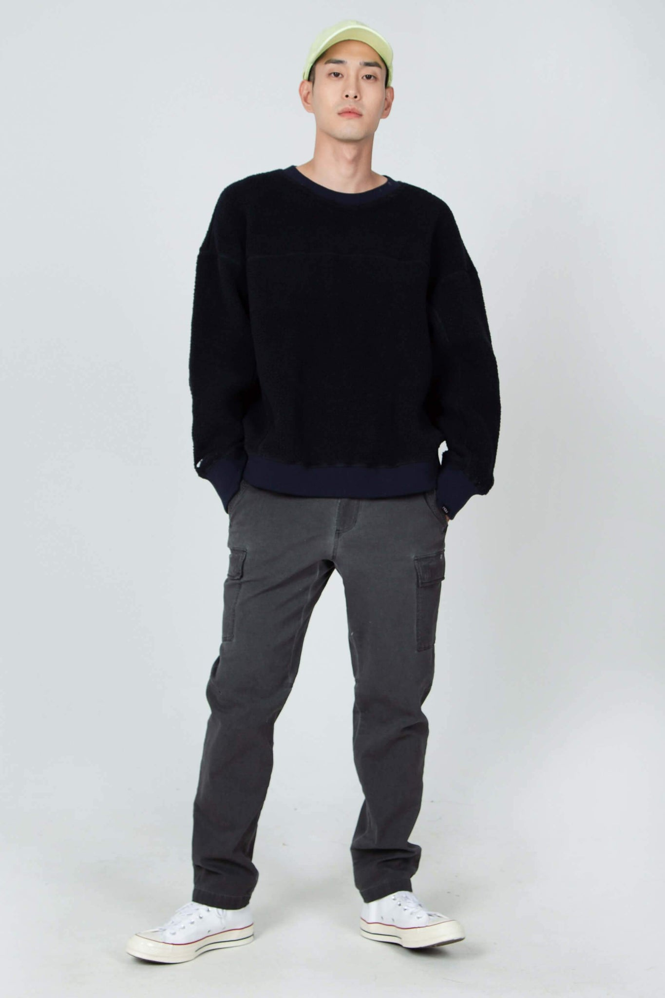 men's pohlar recycled polyester high-pile fleece crew neck pullover - navy