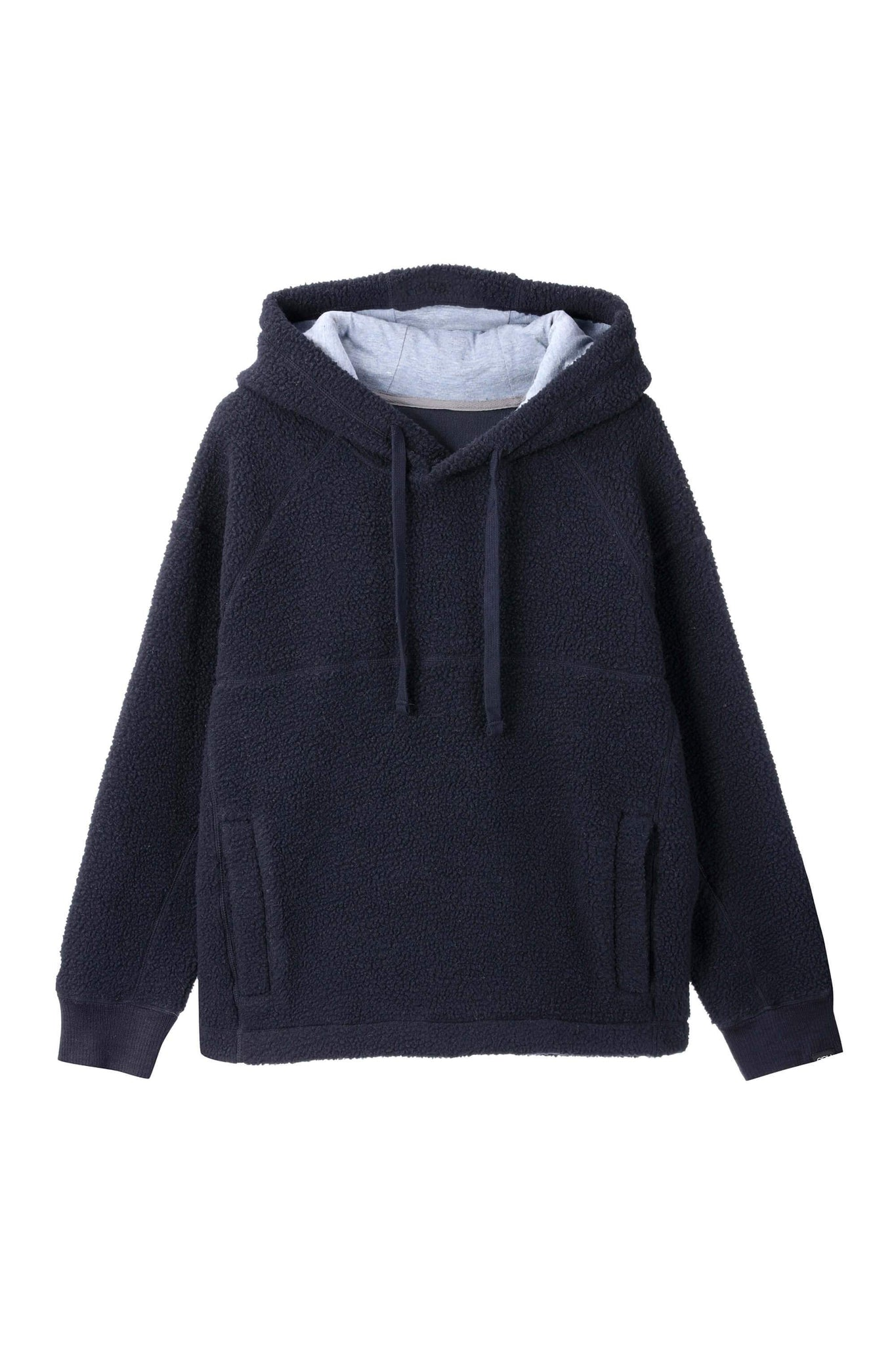 men's pohlar recycled polyester high-pile fleece pullover hoodie - navy