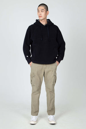 men's pohlar recycled polyester high pile fleece pullover hoodie   navy