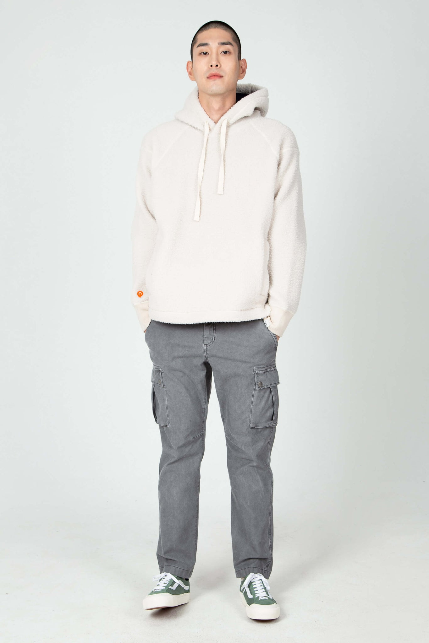 men's pohlar recycled polyester high-pile fleece pullover hoodie - ivory