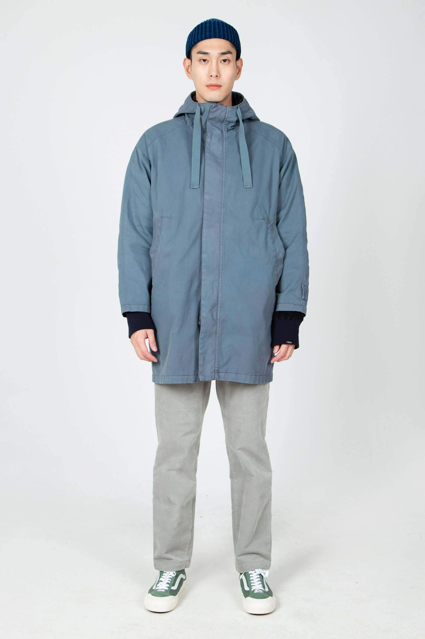 men's hooded organic cotton jacket - blue