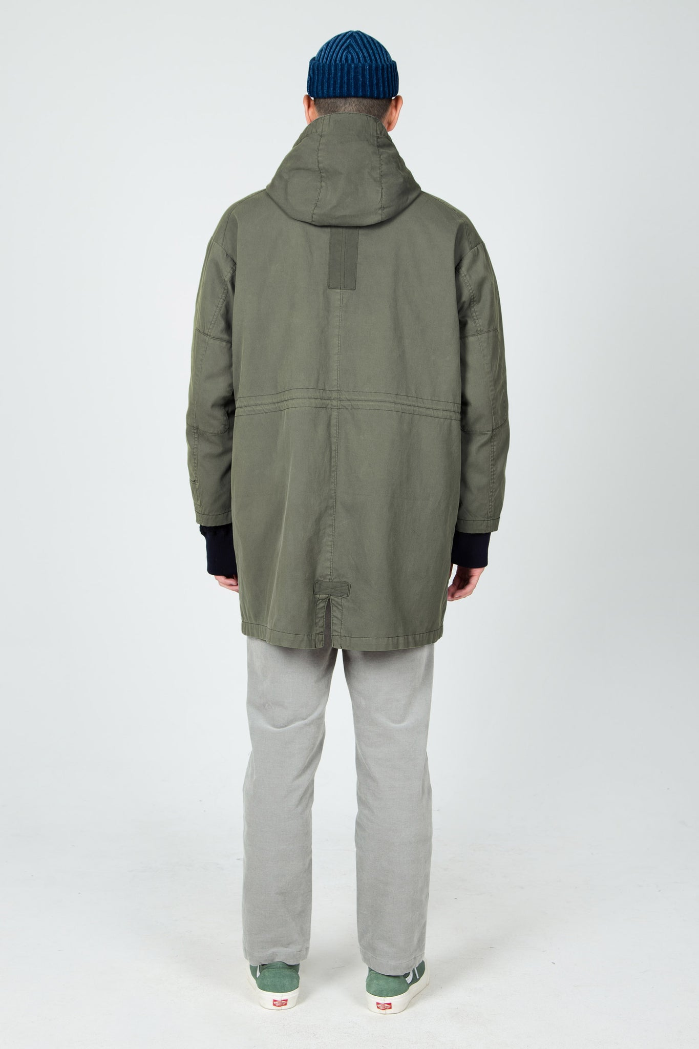 men's hooded organic cotton jacket - olive