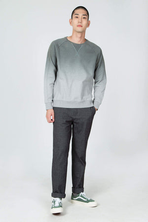men's organic cotton ombre crew neck sweatshirt   basalt