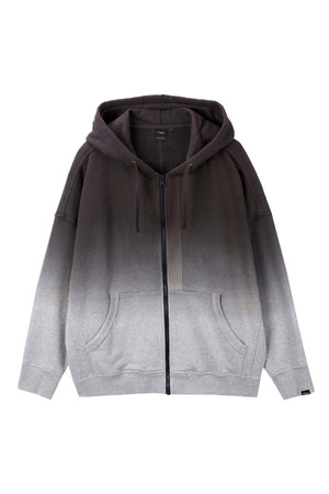 men's ombre organic cotton zip up hoodie   dark grey