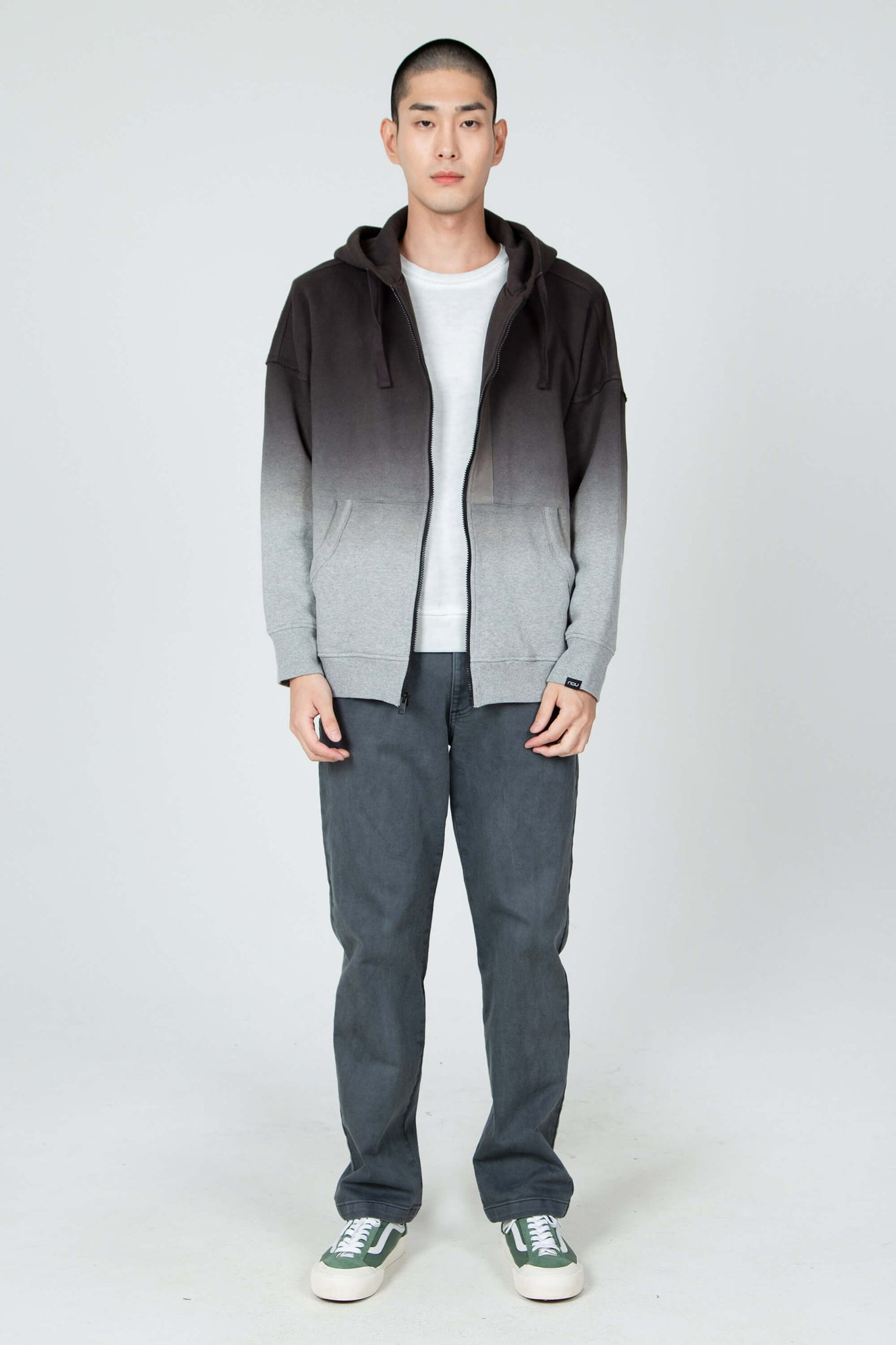 men's ombre organic cotton zip up hoodie - dark grey