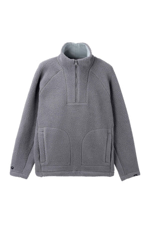 men's pohlar recycled polyester high pile fleece quarter zip pullover   grey