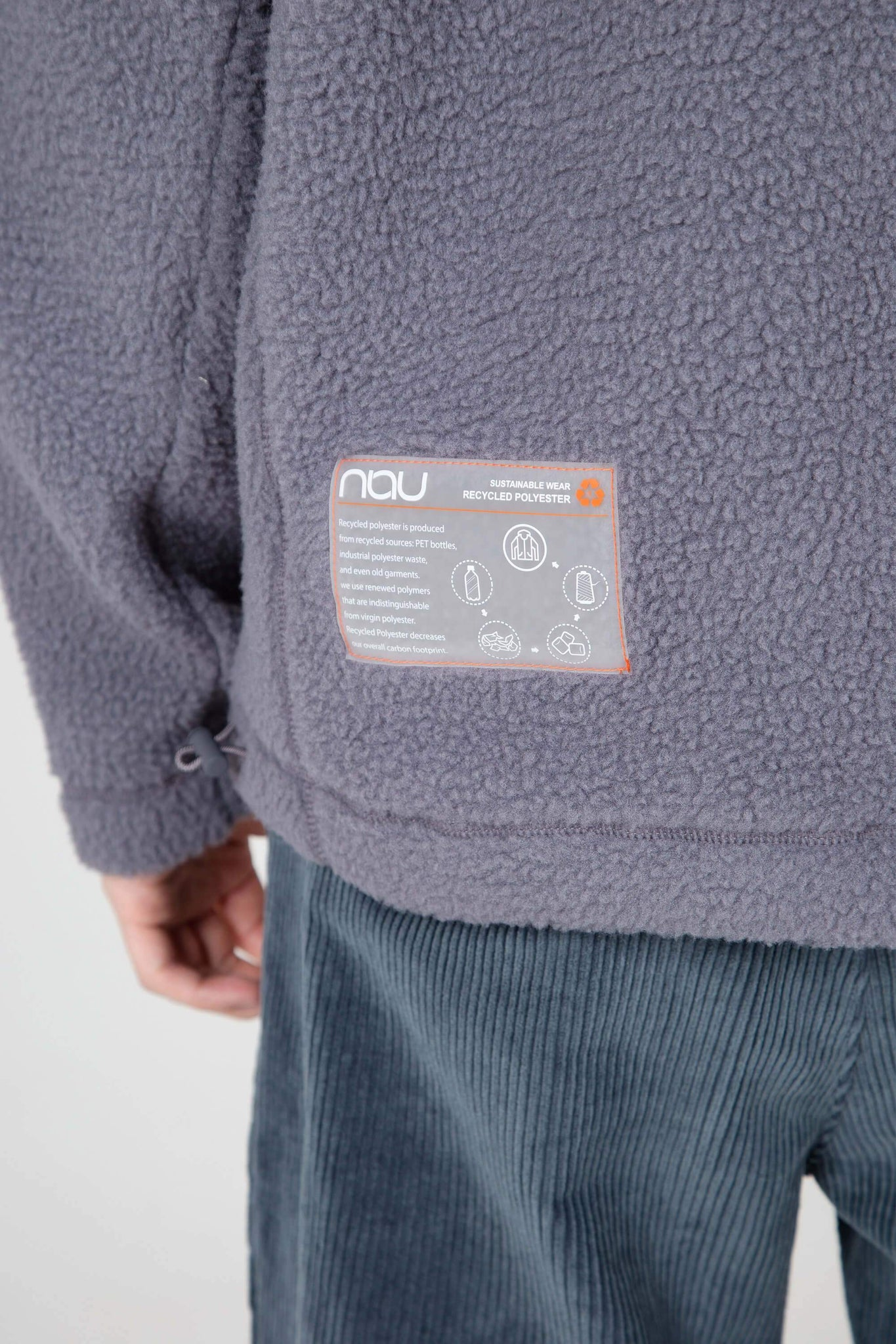 men's pohlar recycled polyester high-pile fleece quarter zip pullover - grey