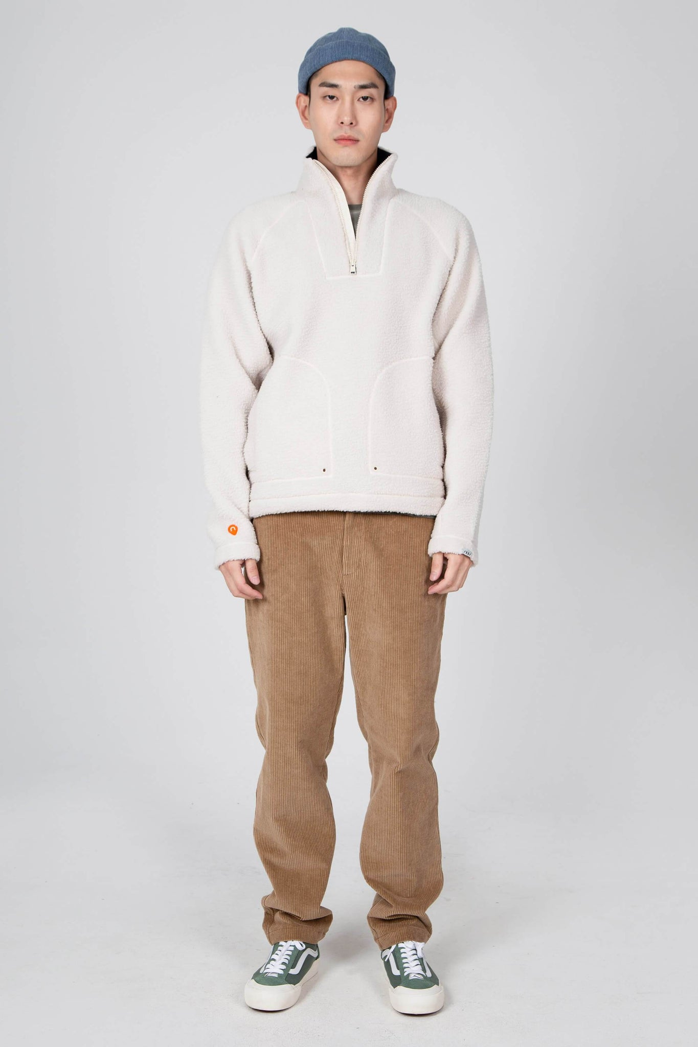 men's pohlar recycled polyester high-pile fleece quarter zip pullover - ivory