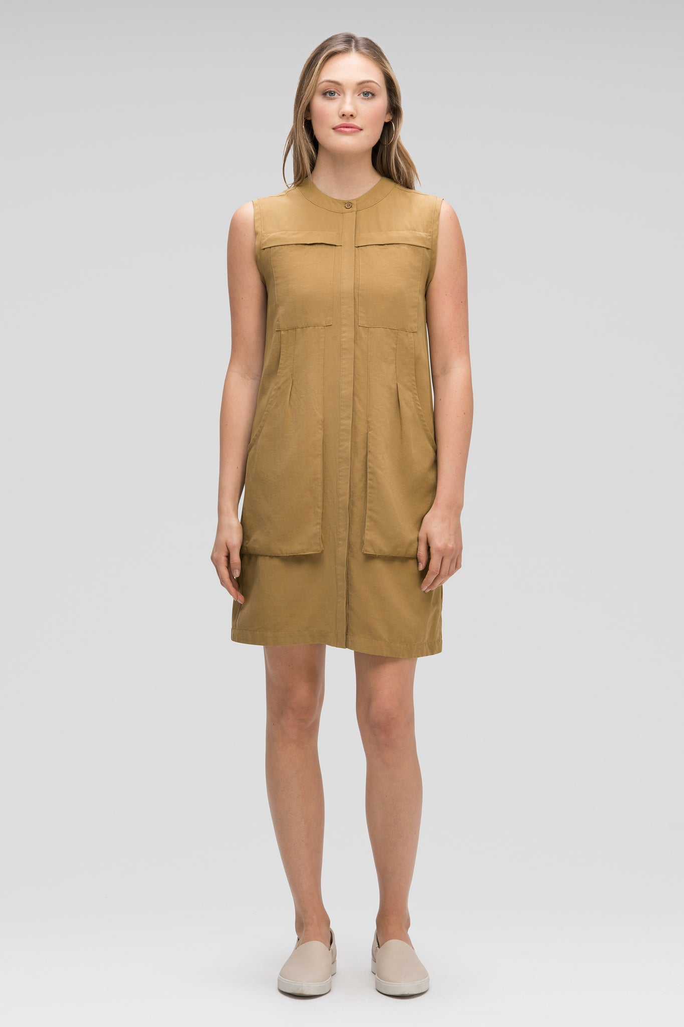 women's flaxible sleeveless shift dress - nutmeg