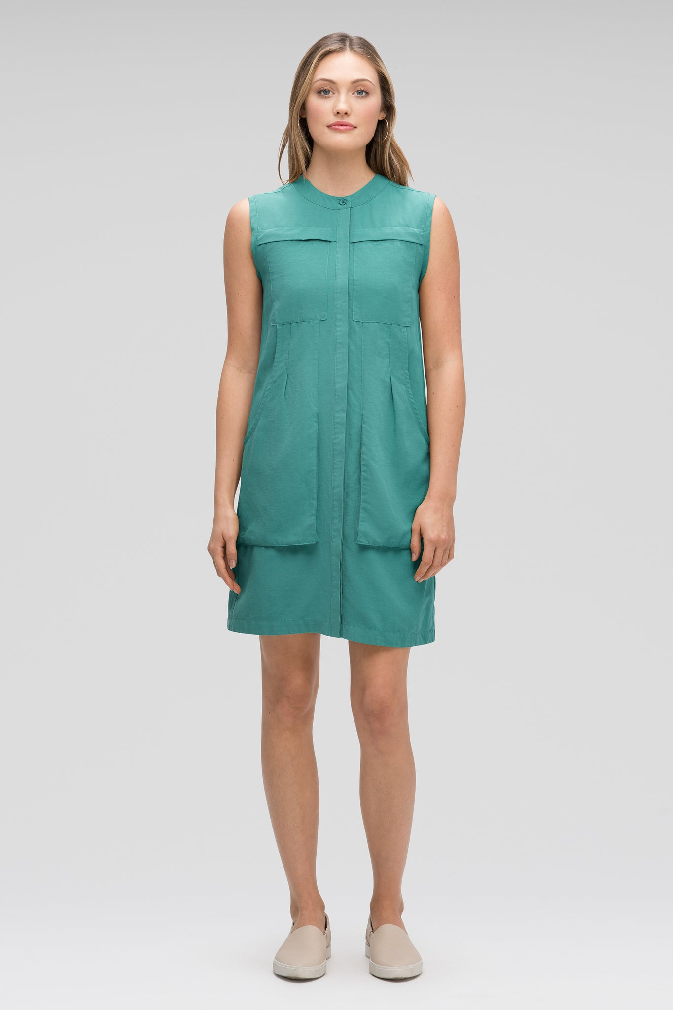 women's flaxible sleeveless shift dress - jade