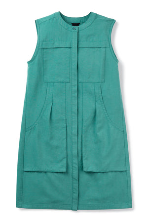 women's flaxible sleeveless shift dress   jade