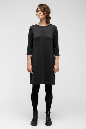 women's a line elementerry boatneck dress   caviar