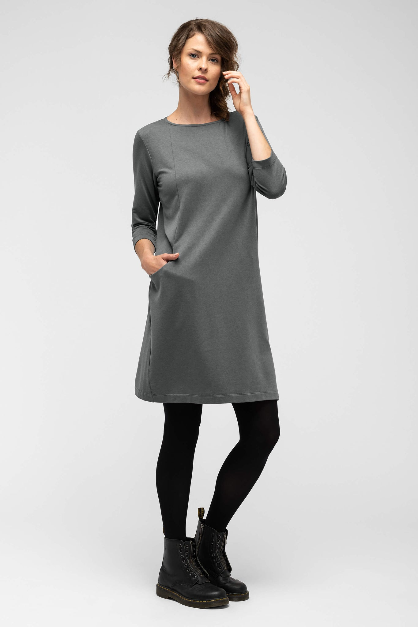 women's a-line elementerry boatneck dress - shadow