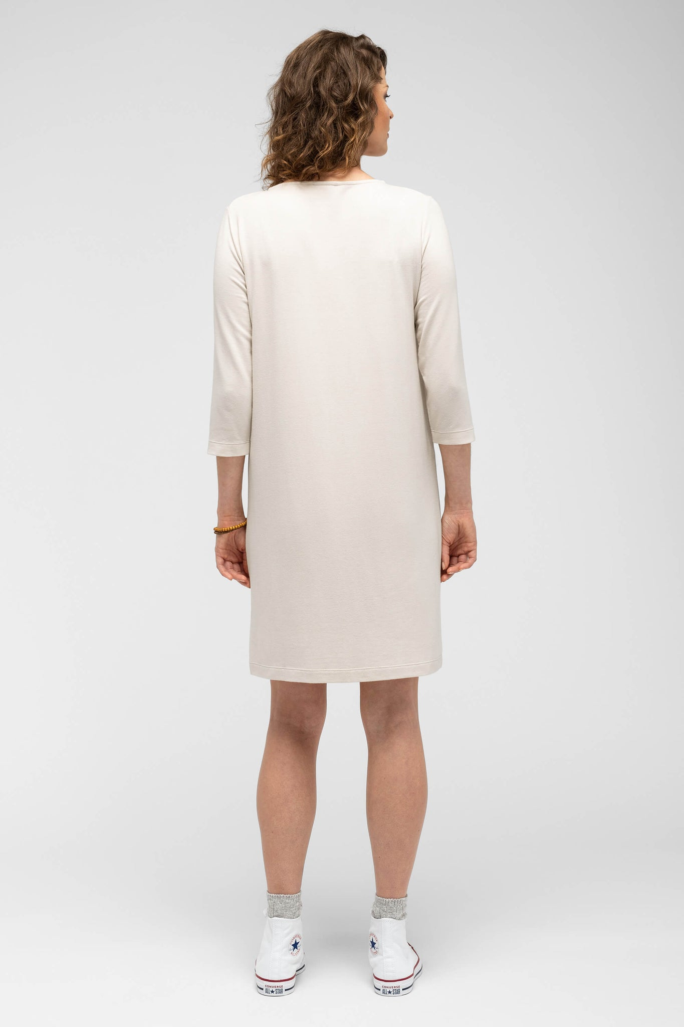 women's a-line elementerry boatneck dress - ivory