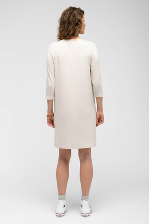 women's a line elementerry boatneck dress   ivory
