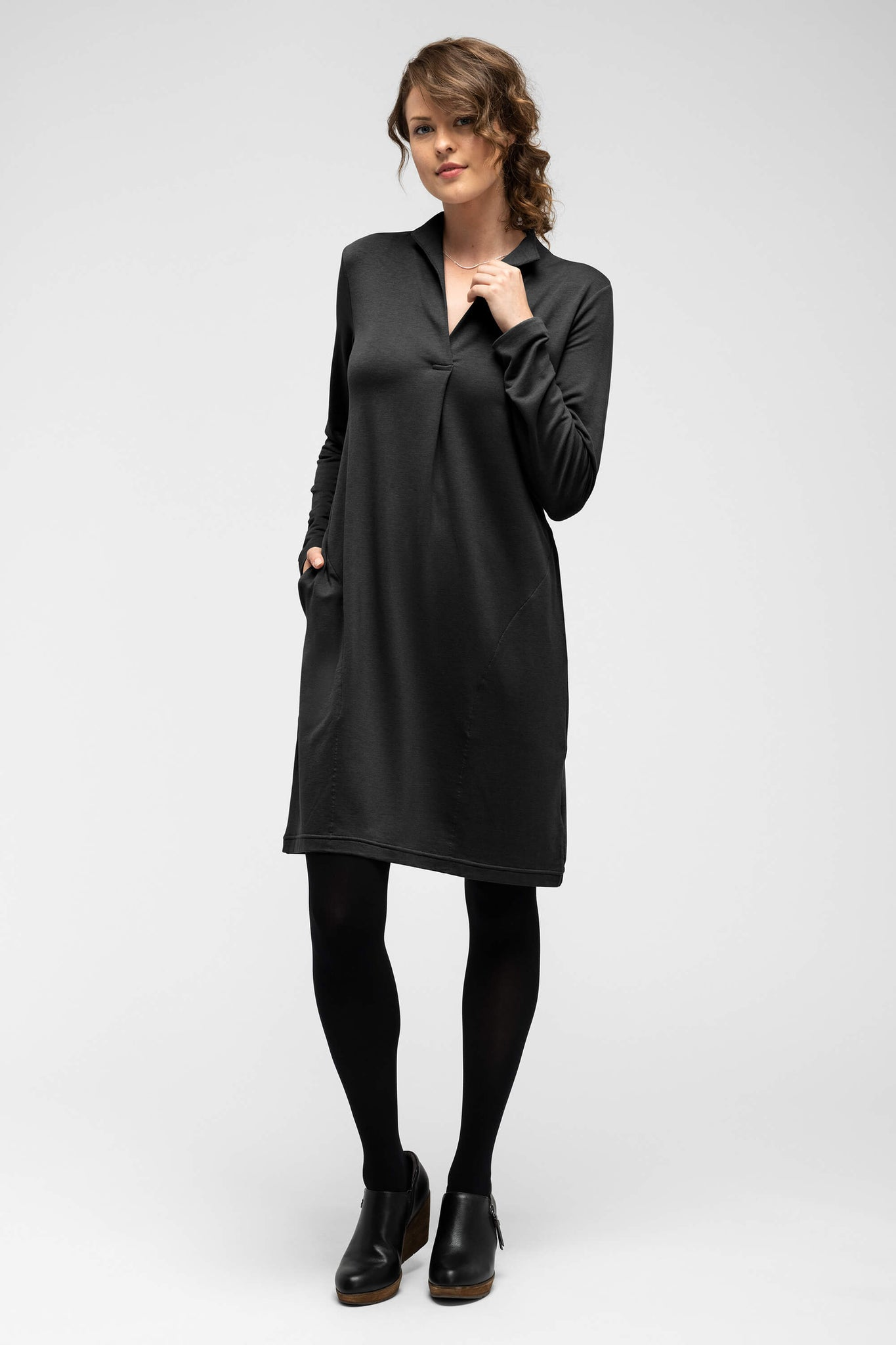 women's long sleeve elementerry dress with mock v neck - caviar