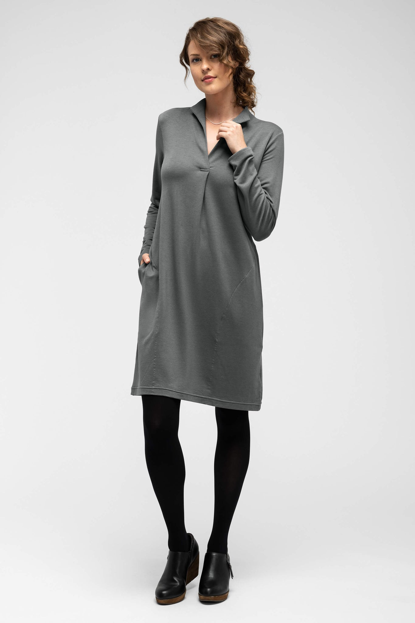 women's long sleeve elementerry dress with mock v neck - shadow