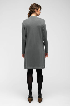 women's long sleeve elementerry dress with mock v neck   shadow