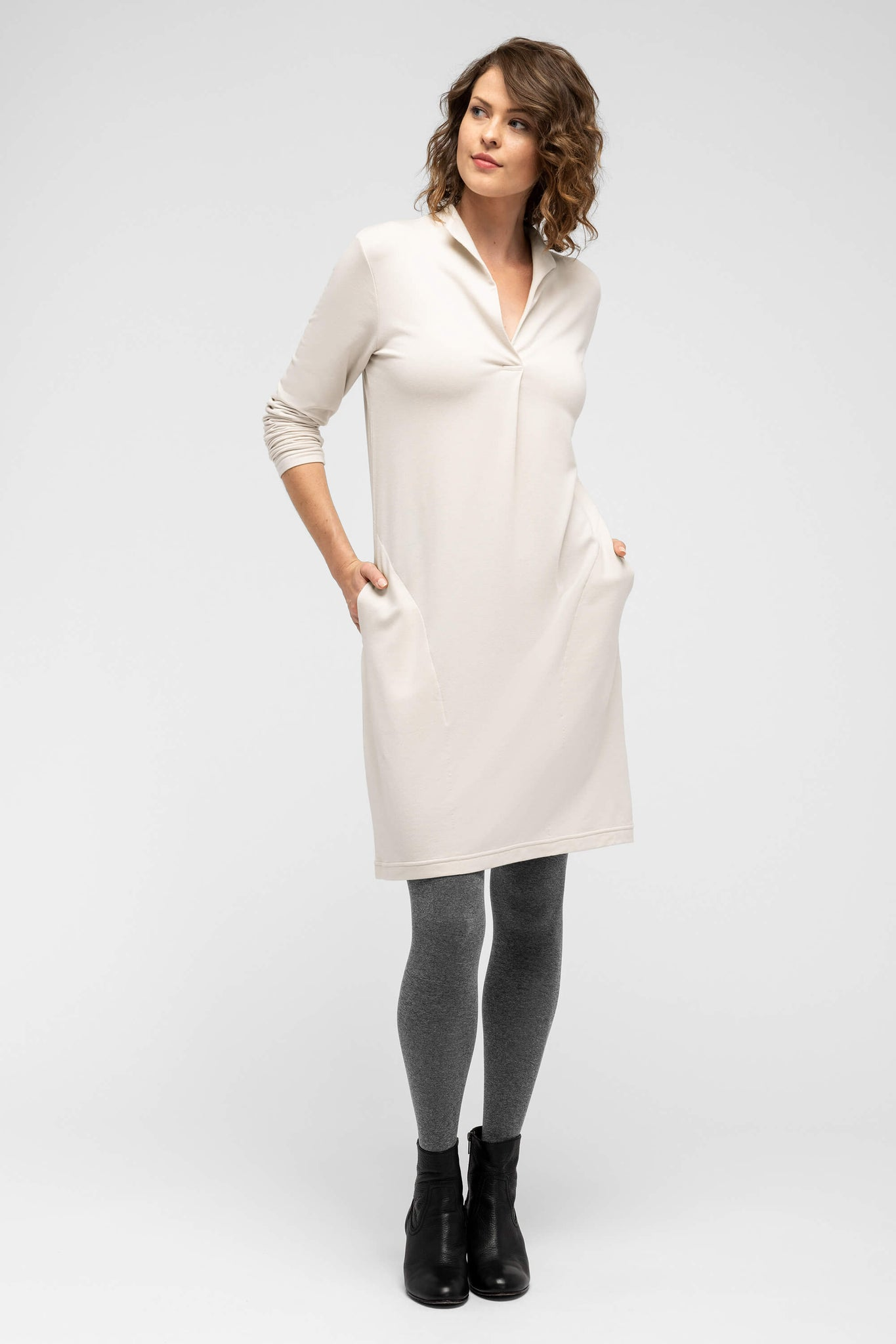 women's long sleeve elementerry dress with mock v neck - ivory