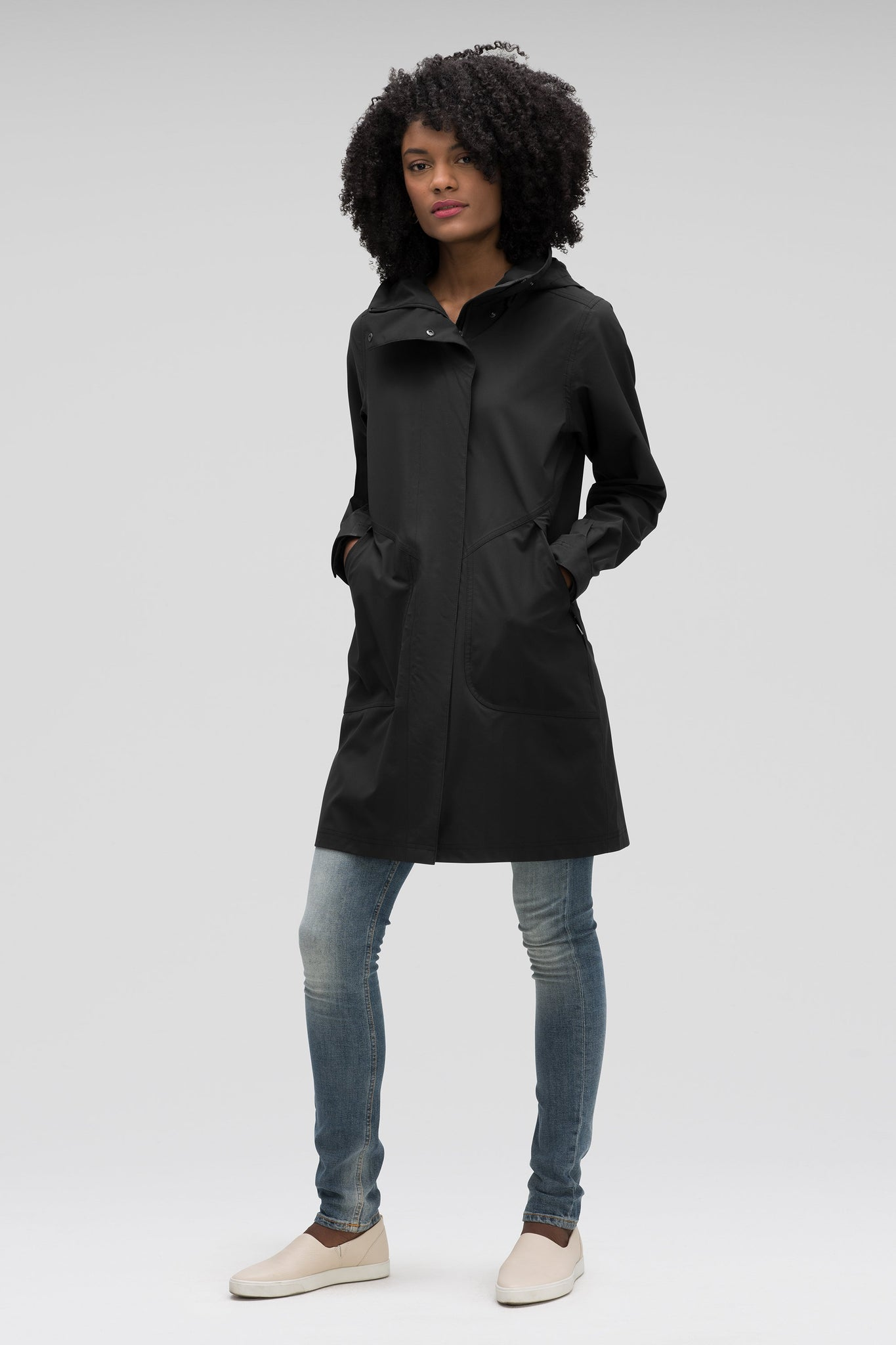 women's sequenchshell waterproof trench coat - caviar