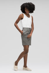 women's stretch motil button front skirt - cape heather