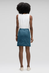 women's stretch motil button front skirt - lagoon heather
