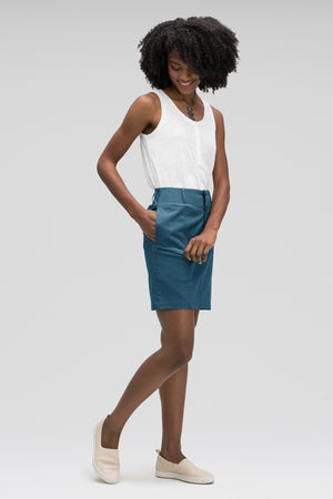 women's stretch motil button front skirt   lagoon heather