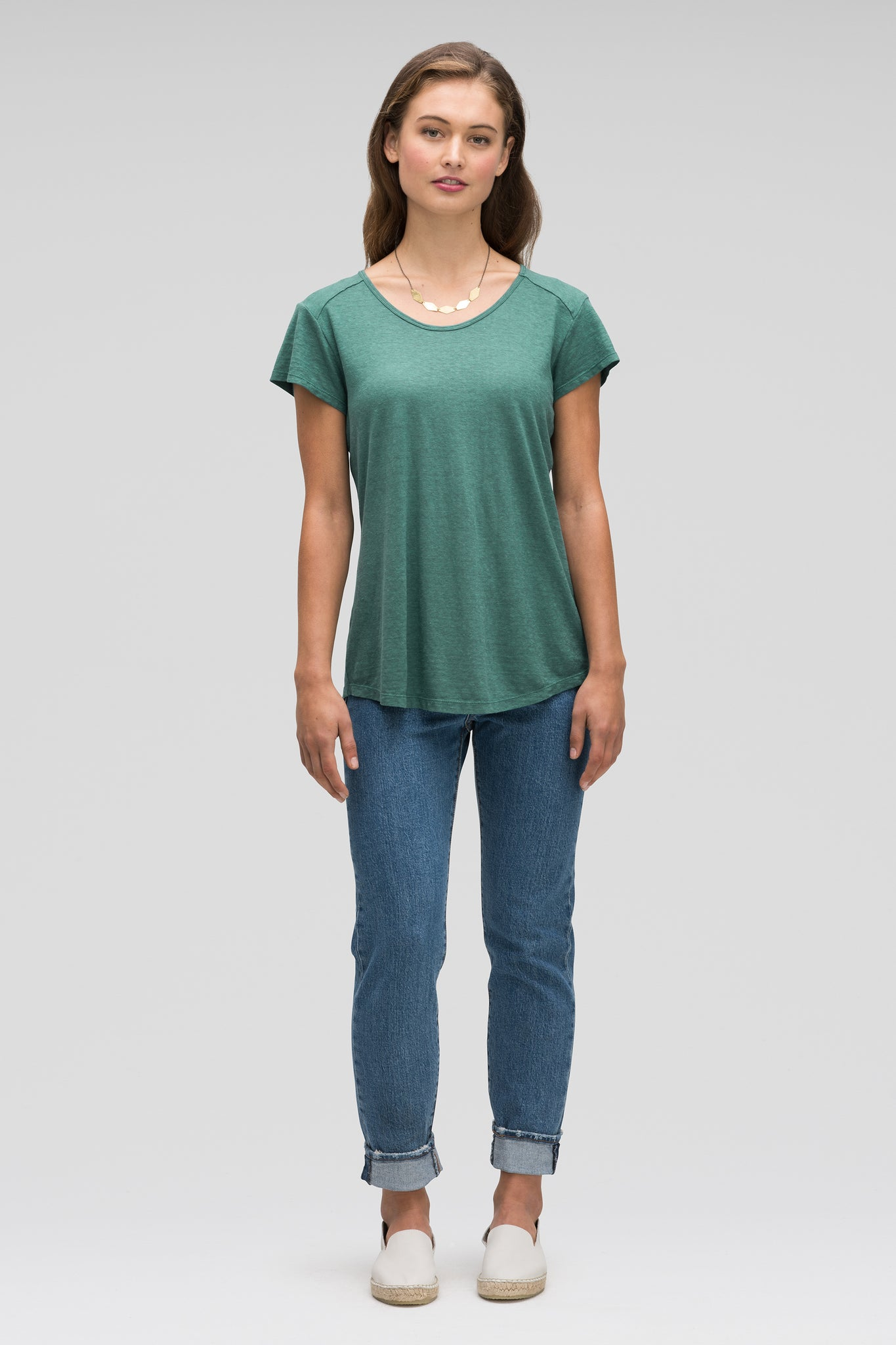 women's kanab hemp blend scoop neck tee - mallard heather