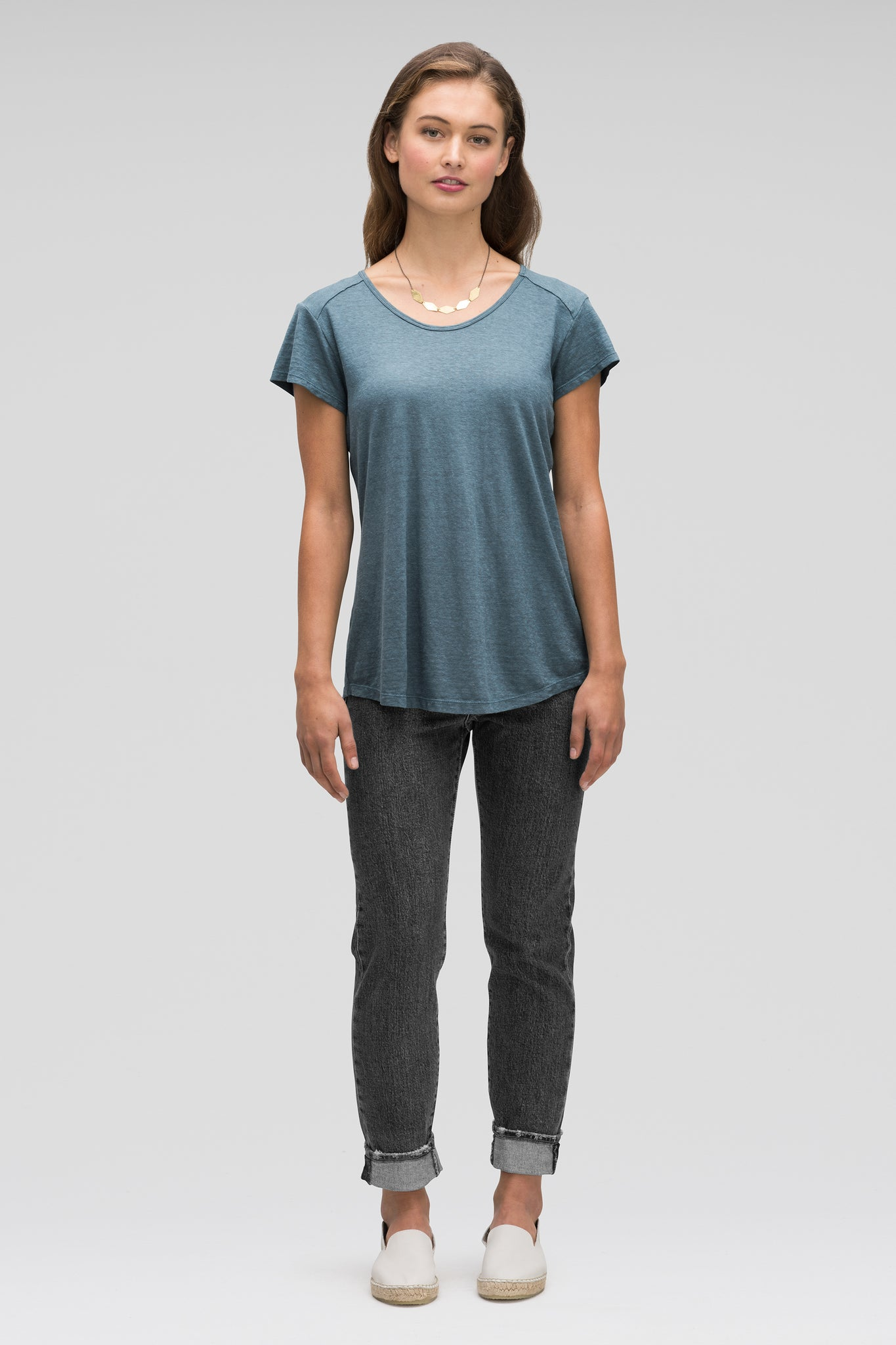 women's kanab hemp blend scoop neck tee - lagoon heather