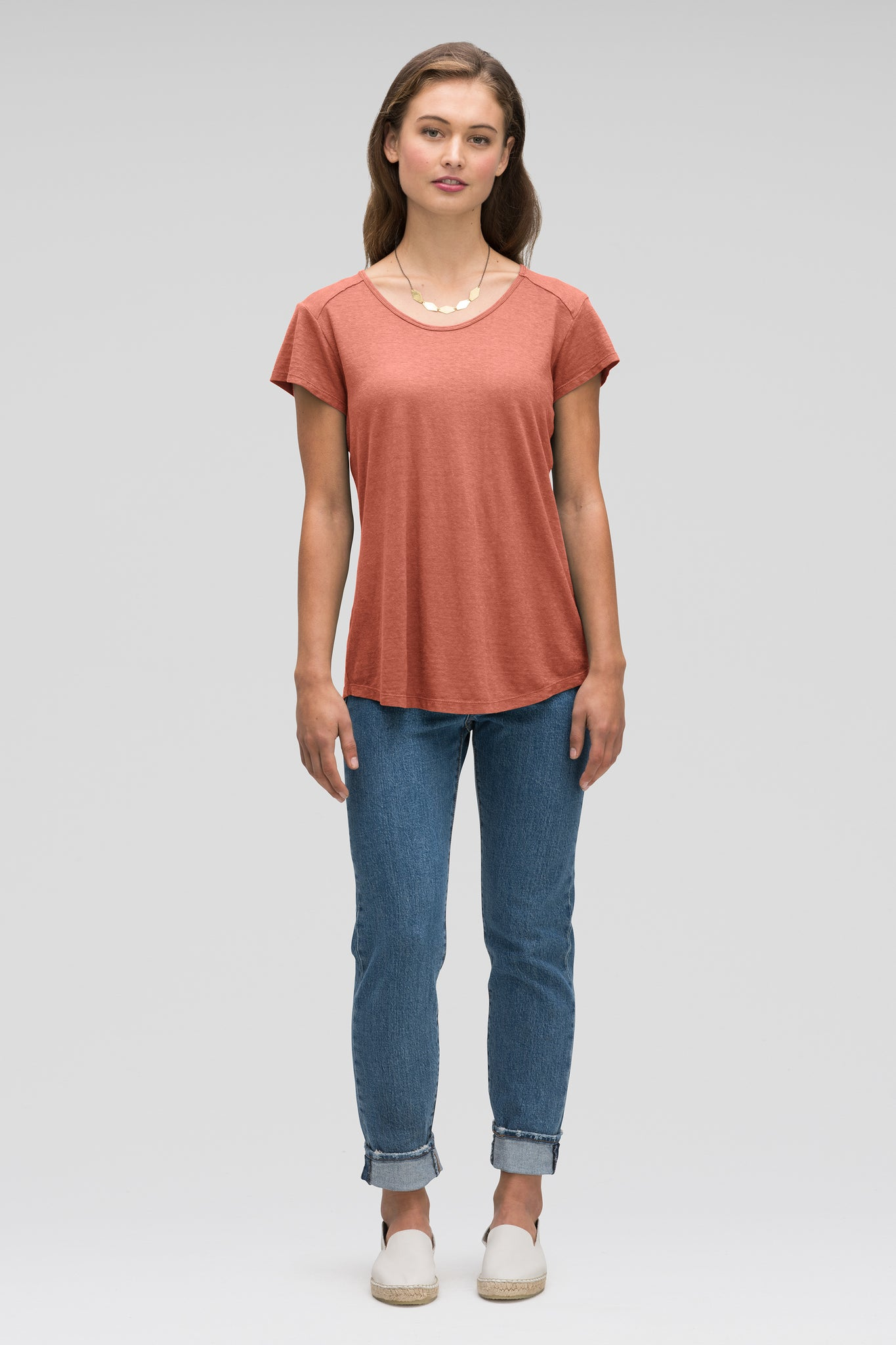 women's kanab hemp blend scoop neck tee - terracotta heather