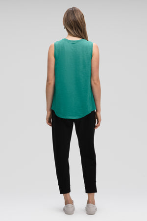 women's strie sleeveless muscle tank   jade