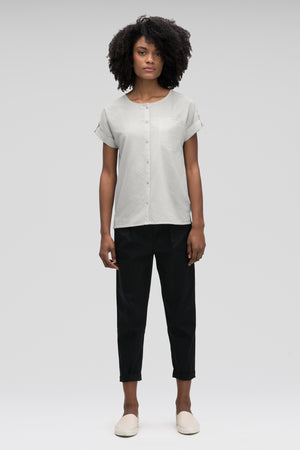 women's bloq boxy short sleeve shirt   zinc